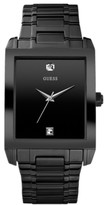 Thumbnail for your product : GUESS Watch, Men's Diamond Accent Black Ion Plated Stainless Steel Bracelet 41x37mm U12557G1