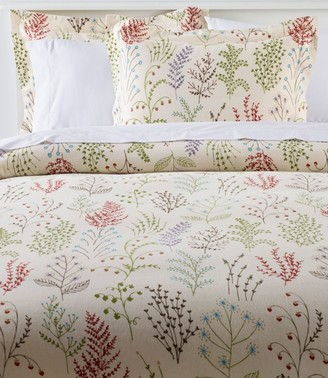 L.L. Bean Botanical Floral Flannel Comforter Cover Collection