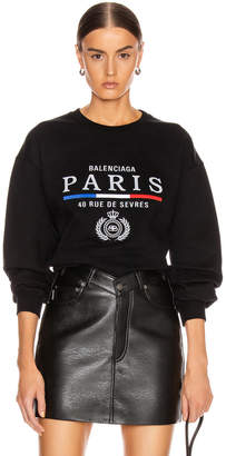 Balenciaga Paris Flag Crew Neck Sweatshirt in Black | FWRD