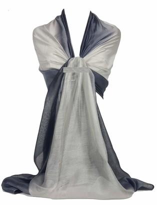 GFM Two Tone Silk Scarf Shawl for Evening Wedding Bridesmaids (88)(DMSYSLK-CHBH)