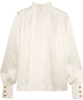 Pierre Balmain Quilted Silk-satin Blouse - White