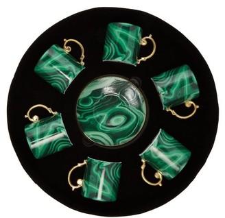 L'OBJET L'Objet Lobjet - Malachite Espresso Cup And Saucers Set - Green