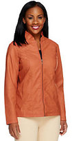 As Is Susan Graver Faux Leather Zip Front Jacket w/ Zipper Detail