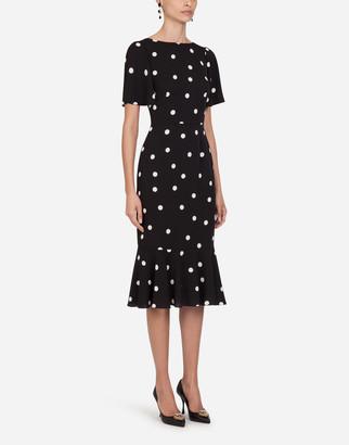 Dolce & Gabbana Polka Dot Print Charmeuse Longuette Dress