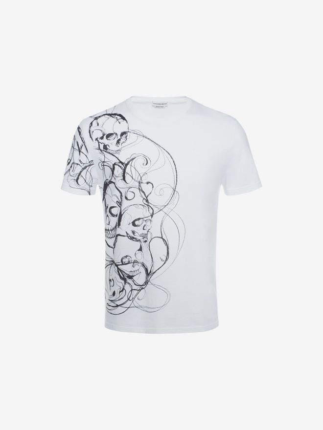 Alexander McQueen Organic Jersey Skull Printed T Shirt