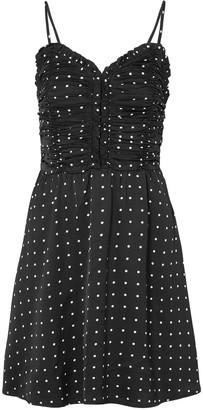 Maje Polka-dot Ruched Satin Mini Dress