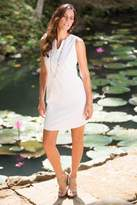 Handcrafted Solid White Cotton Sleeveless Shift Dress, 'Lily in White'
