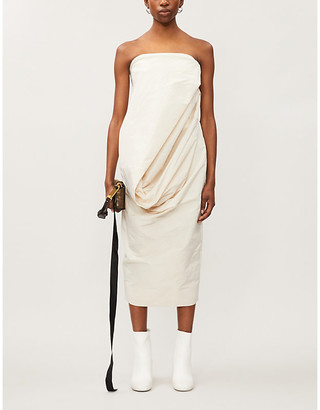 Rick Owens Sleeveless draped woven midi dress