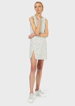 Emporio Armani Tweed Sheath Dress With Front Slit