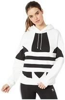 adidas Large Logo Hoodie (Black/White) Women's Clothing