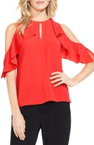 Vince Camuto Petite Women's Flutter Sleeve Cold Shoulder Blouse
