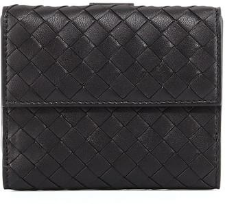 Bottega Veneta Intrecciato Mini Flap Wallet, Black