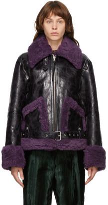 Dries Van Noten Black and Purple Lento Jacket
