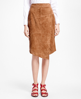 Brooks Brothers Asymmetrical Suede Skirt