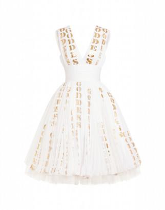 Moschino Hollywood Stencils Chiffon Dress Woman White Size 42 It - (8 Us)