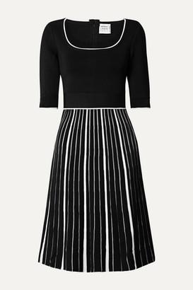 Herve Leger Striped Stretch-knit Dress - Black
