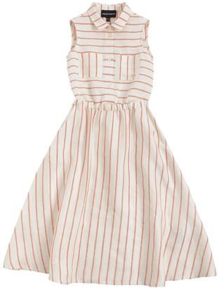 Emporio Armani STRIPED LINEN BLEND DRESS