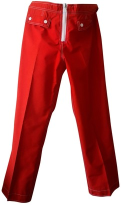 Courreges Red Cotton Trousers for Women Vintage