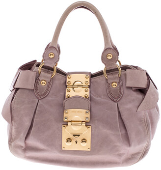 Miu Miu Pink Distressed Leather Bow Satchel