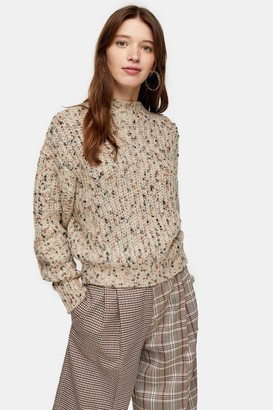 Topshop Womens Knitted Textured Neppy Pointelle Jumper - Natural