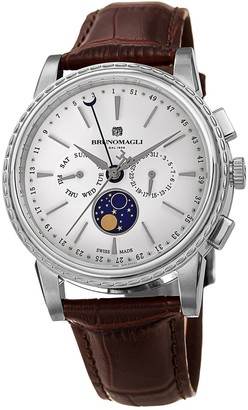 Bruno Magli Men's Luna Piena Moonphase Embossed Leather Watch, 43mm