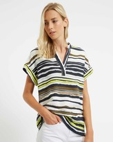 Jaeger Cotton And Linen Mix Stripe Print Top