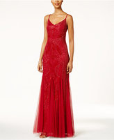 Adrianna Papell Beaded Pleated A-Line Gown