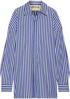 Awake Oversized Striped Cotton-poplin Shirt - Royal blue