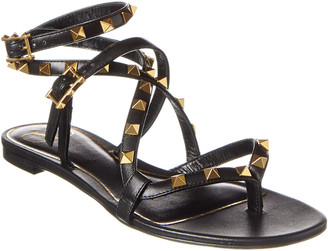Valentino Ankle Wrap Leather Sandal