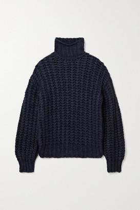 Anine Bing Iris Open-knit Turtleneck Sweater - Midnight blue