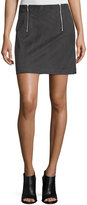 Kensie Two-Zip Faux-Suede A-Line Mini Skirt