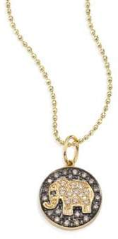 Sydney Evan Small Elephant Diamond& 14K Yellow Gold Medallion Necklace