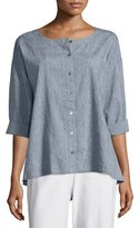 Eileen Fisher Bracelet-Sleeve Button-Front Top, Denim, Petite