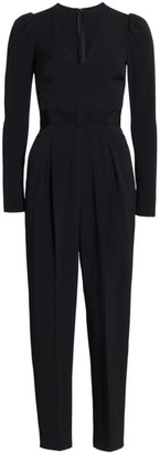 RED Valentino Tuta Frisottino Stretch Puff-Sleeve Jumpsuit
