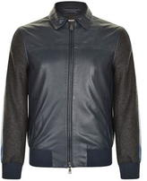Dkny Contrasting Leather Jacket
