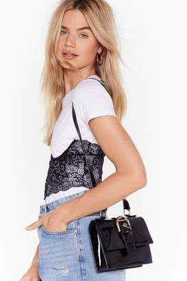 Nasty Gal Womens WANT You're Outta Buck-le Patent Bag - black - One Size