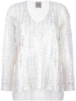 Nude metallic effect jumper - women - Cotton/Polyamide/Polyester - 38