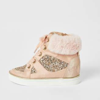 River Island Girls Pink glitter high top lace-up trainers