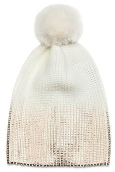 Jocelyn Ombre Metallic & Faux Fur Pom Pom Knit Hat