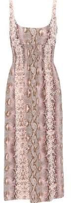 Emilia Wickstead Giovanna Shirred Snake-print Silk Crepe De Chine Midi Dress