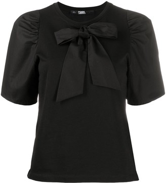Karl Lagerfeld Paris Bow Puff-Sleeve T-Shirt