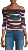 J.o.a. Women's Striped Off-The-Shoulder Top