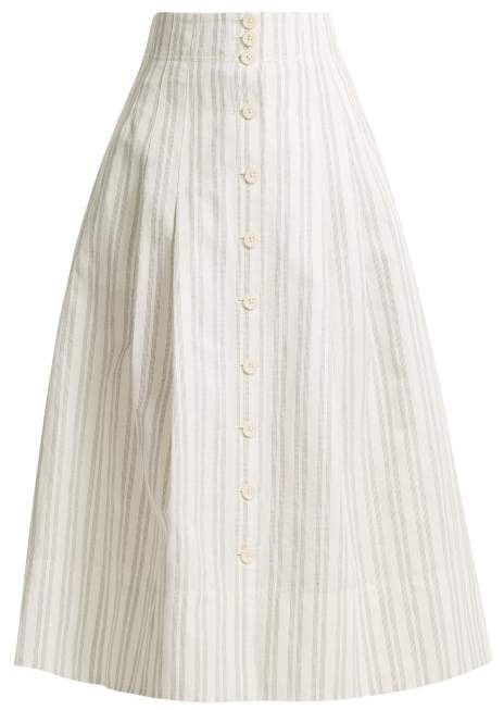 Rebecca Taylor Striped Cotton And Linen Blend Skirt - Womens - White Stripe