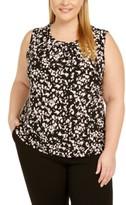 Kasper Plus Size Printed Twist-Neck Sleeveless Top