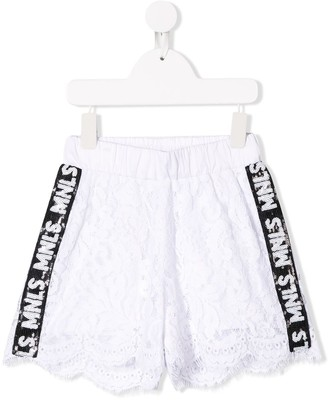MonnaLisa Logo Lace Embroidered Shorts