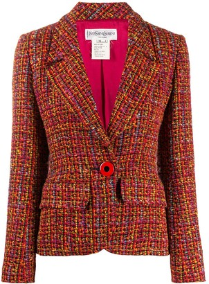 Yves Saint Laurent Pre Owned Slim-Fit Tweed Blazer