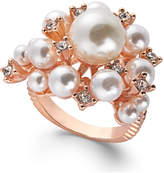 INC International Concepts Rose Gold-Tone Pavé & Imitation Pearl Cluster Ring, Created for Macy's