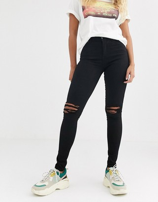 Dr. Denim Lexy mid rise second skin super skinny ripped knee jeans-Black