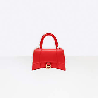 Balenciaga Hourglass Small Top Handle Bag in bright red shiny box calfskin