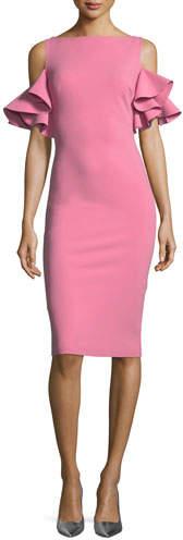 Chiara Boni Tata Cold-Shoulder Ruffle-Sleeve Cocktail Sheath Dress